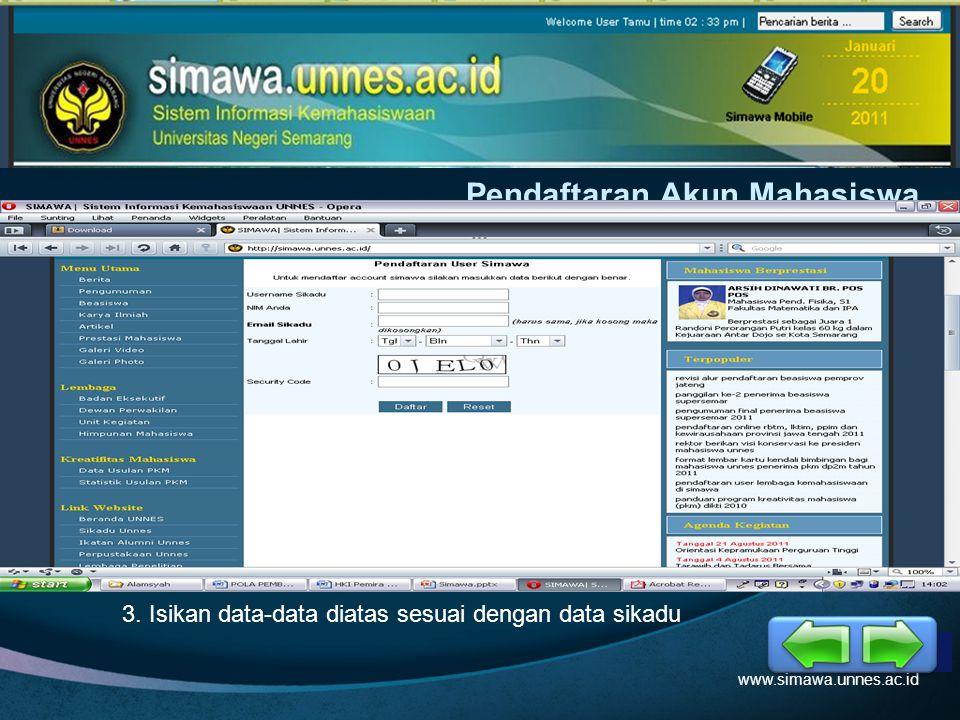 LOGO Pendaftaran Akun Mahasiswa www.simawa.unnes.ac.id 1. Klik Menu Login2. Pilih Pendaftaran User Mahasiswa