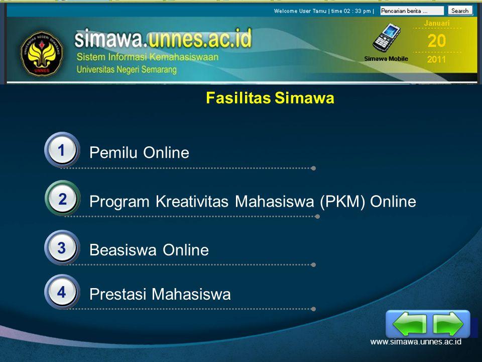 LOGO Fasilitas Simawa Pemilu Online 1 Program Kreativitas Mahasiswa (PKM) Online 2 3 Prestasi Mahasiswa Beasiswa Online 4 www.simawa.unnes.ac.id