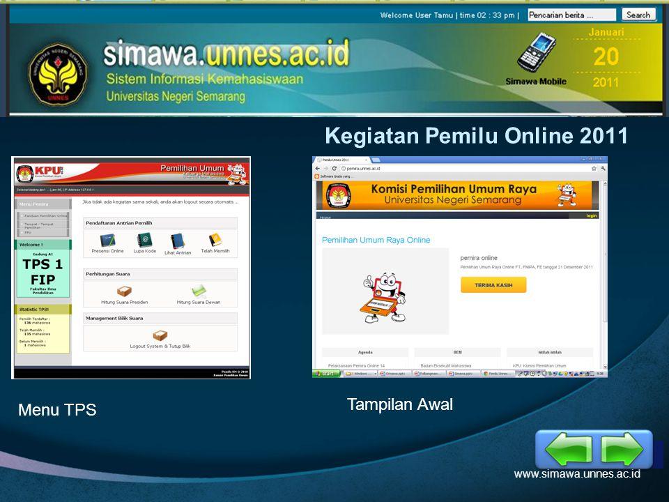 LOGO Kegiatan Pemilu Online 2011 www.simawa.unnes.ac.id Menu TPS Tampilan Awal