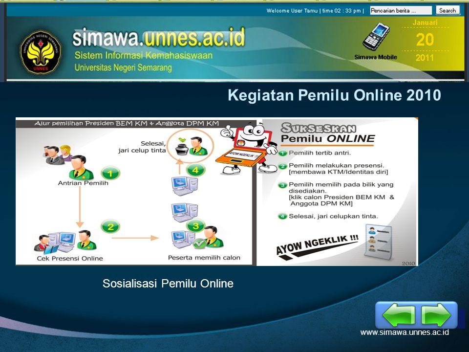 LOGO Kegiatan Pemilu Online 2010 www.simawa.unnes.ac.id Sosialisasi Pemilu Online