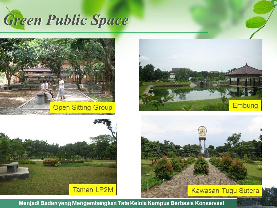 Menjadi Badan yang Mengembangkan Tata Kelola Kampus Berbasis Konservasi Green Public Space Open Sitting Group Embung Kawasan Tugu Sutera Taman LP2M
