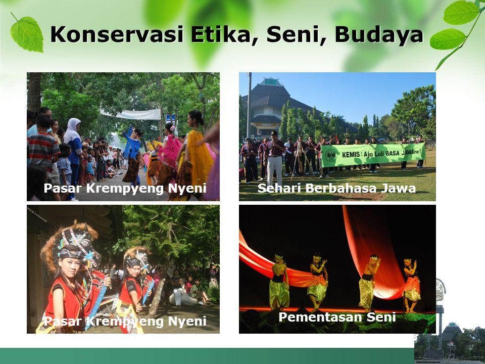 Konservasi Etika, Seni, Budaya Pasar Krempyeng Nyeni Sehari Berbahasa Jawa Pementasan Seni