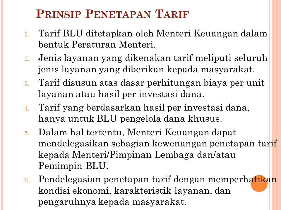 R EVIU T ARIF Pemimpin BLU, Menteri/Pimpinan Lembaga, dan/atau Menteri Keuangan dapat melakukan reviu atas : tarif yang sudah ditetapkan(besaran atau jenis layanan); Layanan baru yang belum memiliki tarif.