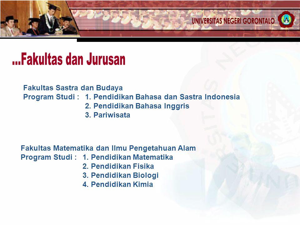 Fakultas Sastra dan Budaya Program Studi : 1. Pendidikan Bahasa dan Sastra Indonesia 2. Pendidikan Bahasa Inggris 3. Pariwisata Fakultas Matematika da