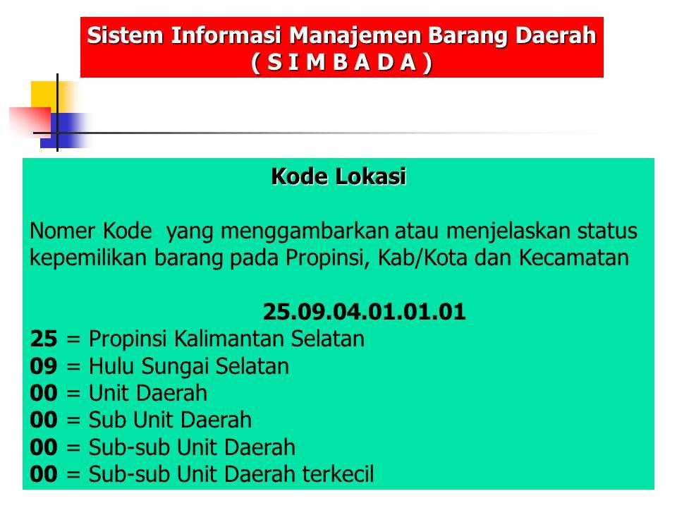 Kode Lokasi Nomer Kode yang menggambarkan atau menjelaskan status kepemilikan barang pada Propinsi, Kab/Kota dan Kecamatan 25.09.04.01.01.01 25 = Prop