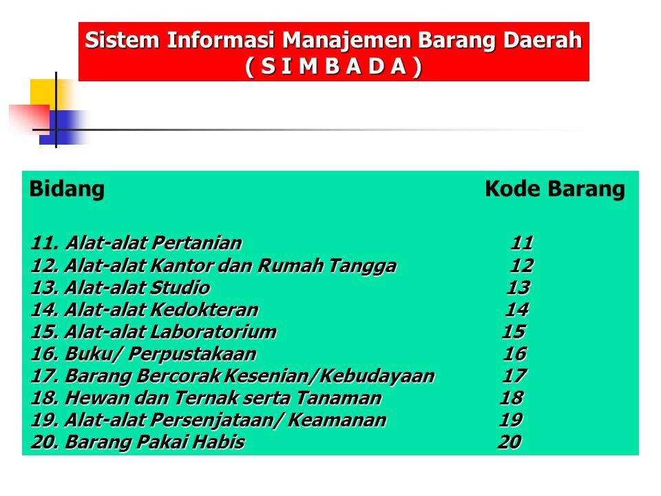 Bidang Kode Barang Alat-alat Pertanian 11 11. Alat-alat Pertanian 11 12. Alat-alat Kantor dan Rumah Tangga 12 13. Alat-alat Studio 13 14. Alat-alat Ke