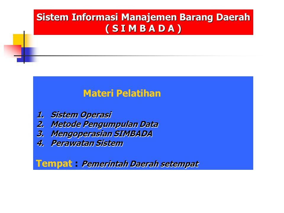 Materi Pelatihan 1.Sistem Operasi 2.Metode Pengumpulan Data 3.Mengoperasian SIMBADA 4.Perawatan Sistem Pemerintah Daerah setempat Tempat : Pemerintah