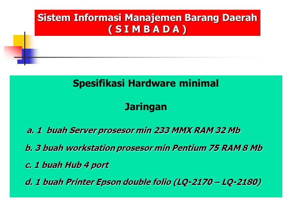 Spesifikasi Hardware minimal Jaringan a. 1 buah Server prosesor min 233 MMX RAM 32 Mb a. 1 buah Server prosesor min 233 MMX RAM 32 Mb b. 3 buah workst