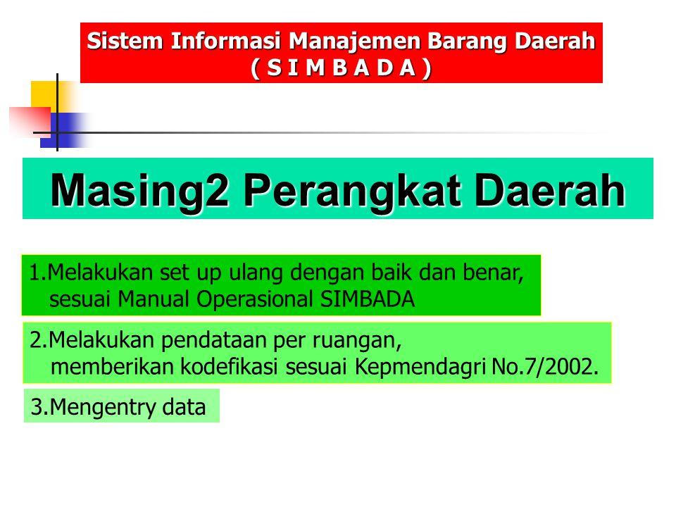 Masing2 Perangkat Daerah Sistem Informasi Manajemen Barang Daerah ( S I M B A D A ) 1.Melakukan set up ulang dengan baik dan benar, sesuai Manual Oper