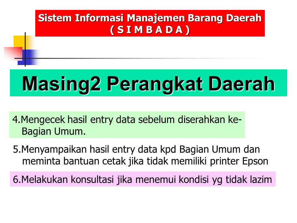 Masing2 Perangkat Daerah Sistem Informasi Manajemen Barang Daerah ( S I M B A D A ) 4.Mengecek hasil entry data sebelum diserahkan ke- Bagian Umum. 5.