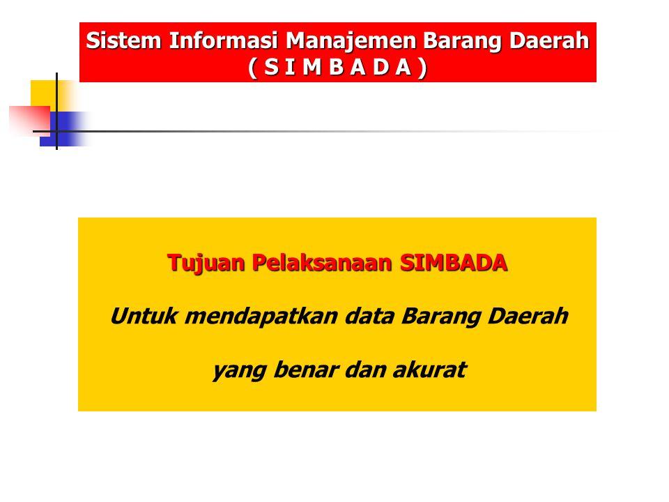 Sasaran SIMBADA Sistem Informasi Manajemen Barang Daerah ( S I M B A D A ) Kendaraan Bermotor Tidak Bergerak Bergerak Inventaris lainnya G e d u n g T a n a h Barang Inventaris