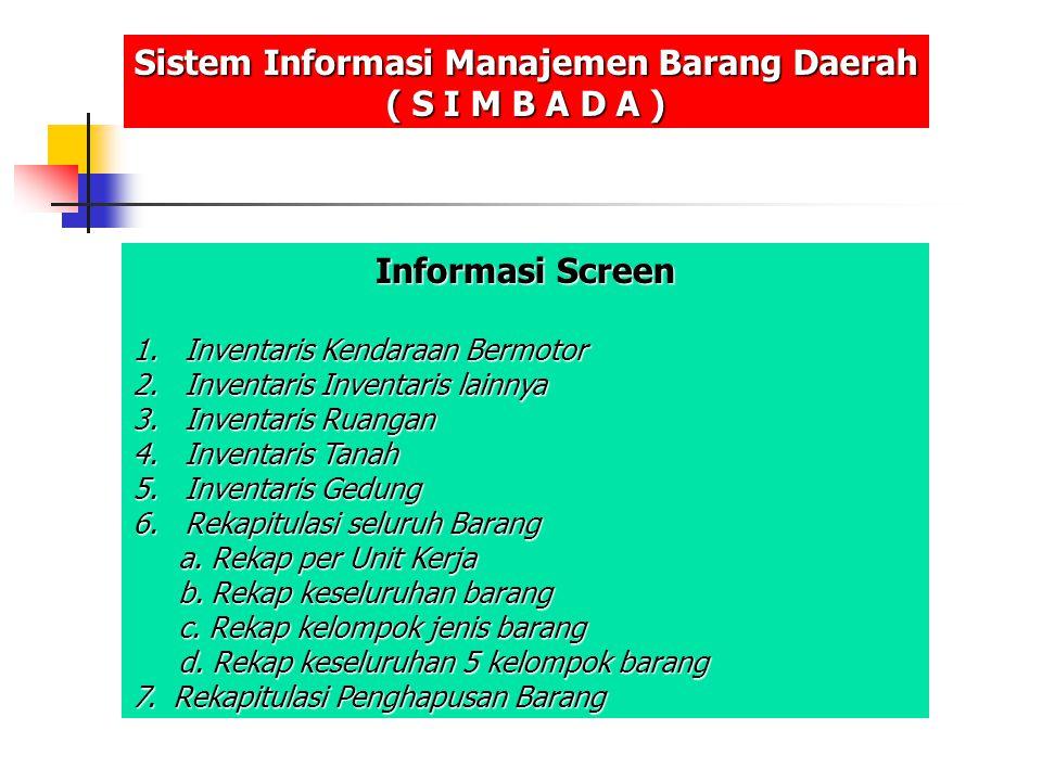 Informasi Screen 1.Inventaris Kendaraan Bermotor 2.Inventaris Inventaris lainnya 3.Inventaris Ruangan 4.Inventaris Tanah 5.Inventaris Gedung 6.Rekapit