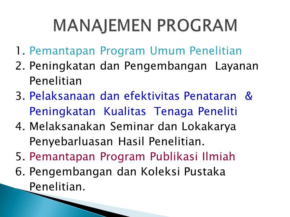 1. Pemantapan Program Umum Penelitian 2. Peningkatan dan Pengembangan Layanan Penelitian 3. Pelaksanaan dan efektivitas Penataran & Peningkatan Kualit