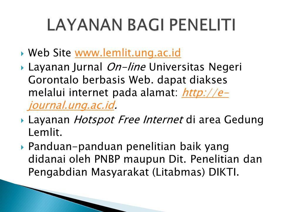  Web Site www.lemlit.ung.ac.idwww.lemlit.ung.ac.id  Layanan Jurnal On-line Universitas Negeri Gorontalo berbasis Web. dapat diakses melalui internet