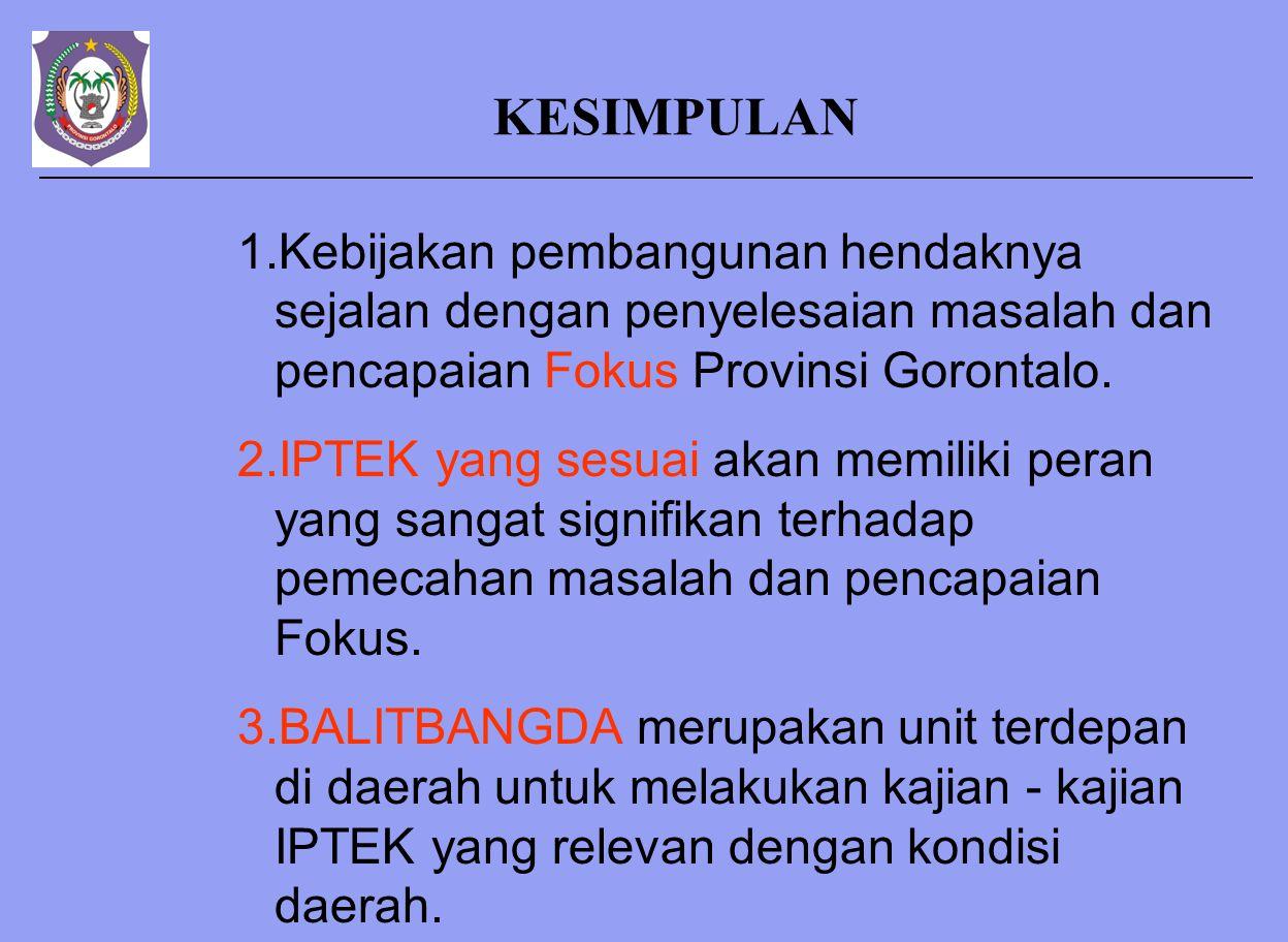 KESIMPULAN 1.Kebijakan pembangunan hendaknya sejalan dengan penyelesaian masalah dan pencapaian Fokus Provinsi Gorontalo.