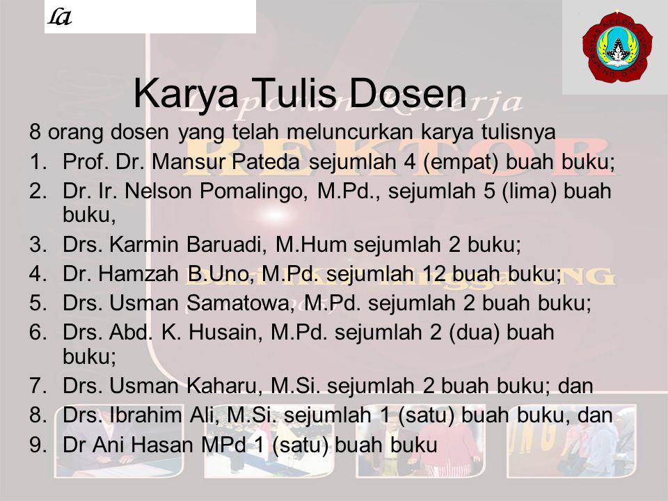 Karya Tulis Dosen 8 orang dosen yang telah meluncurkan karya tulisnya 1.Prof. Dr. Mansur Pateda sejumlah 4 (empat) buah buku; 2.Dr. Ir. Nelson Pomalin