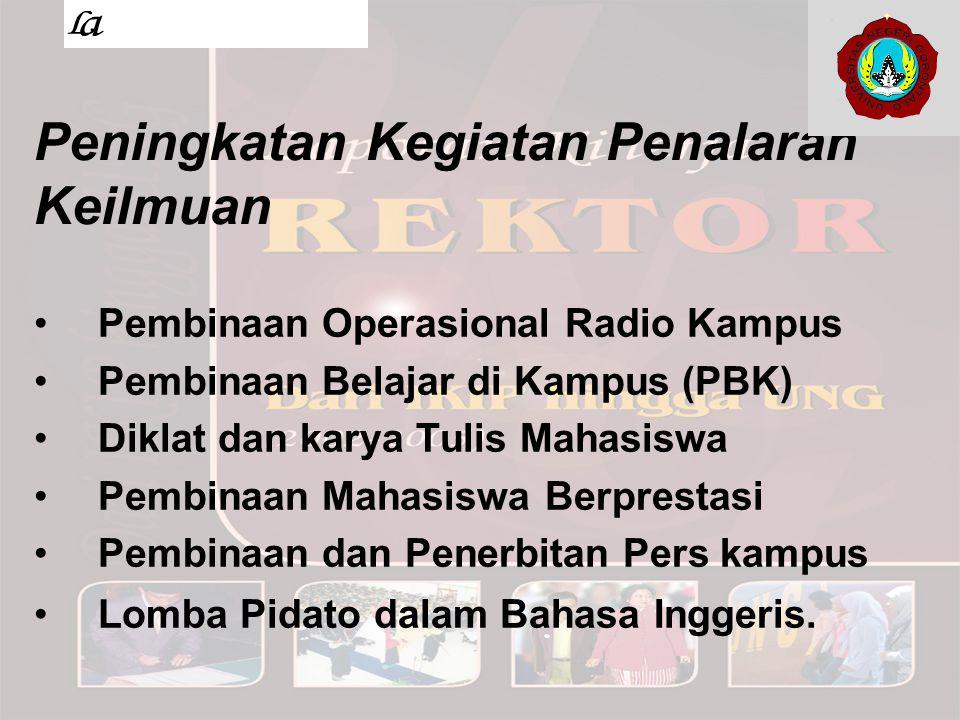 Peningkatan Kegiatan Penalaran Keilmuan Pembinaan Operasional Radio Kampus Pembinaan Belajar di Kampus (PBK) Diklat dan karya Tulis Mahasiswa Pembinaa