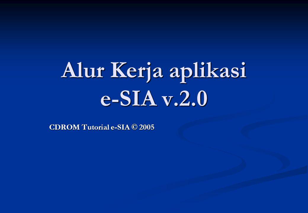 Alur Kerja aplikasi e-SIA v.2.0 CDROM Tutorial e-SIA © 2005
