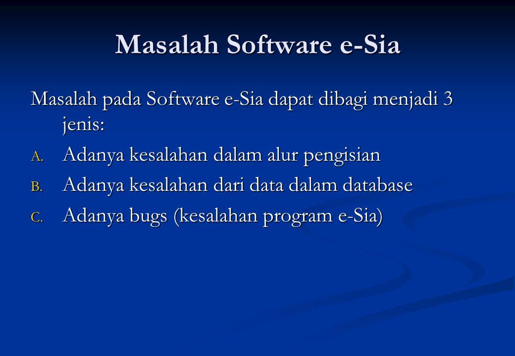 Masalah Software e-Sia Masalah pada Software e-Sia dapat dibagi menjadi 3 jenis: A. Adanya kesalahan dalam alur pengisian B. Adanya kesalahan dari dat