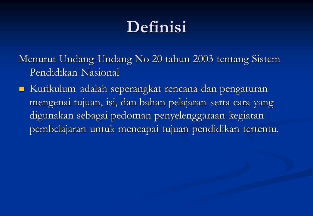 Definisi Menurut Undang-Undang No 20 tahun 2003 tentang Sistem Pendidikan Nasional Kurikulum adalah seperangkat rencana dan pengaturan mengenai tujuan