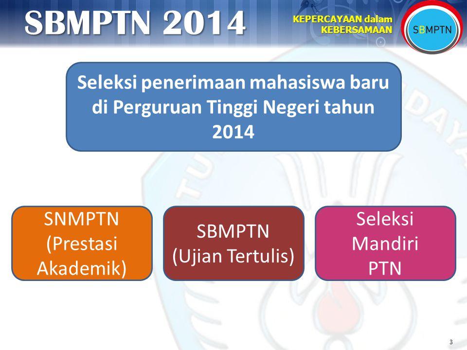 3 KEPERCAYAAN dalam KEBERSAMAAN SBMPTN 2014 Seleksi penerimaan mahasiswa baru di Perguruan Tinggi Negeri tahun 2014 SNMPTN (Prestasi Akademik) Seleksi
