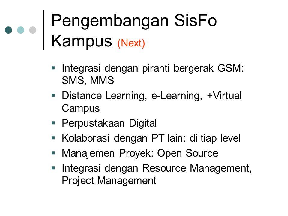 Pengembangan SisFo Kampus (Next)  Integrasi dengan piranti bergerak GSM: SMS, MMS  Distance Learning, e-Learning, +Virtual Campus  Perpustakaan Digital  Kolaborasi dengan PT lain: di tiap level  Manajemen Proyek: Open Source  Integrasi dengan Resource Management, Project Management