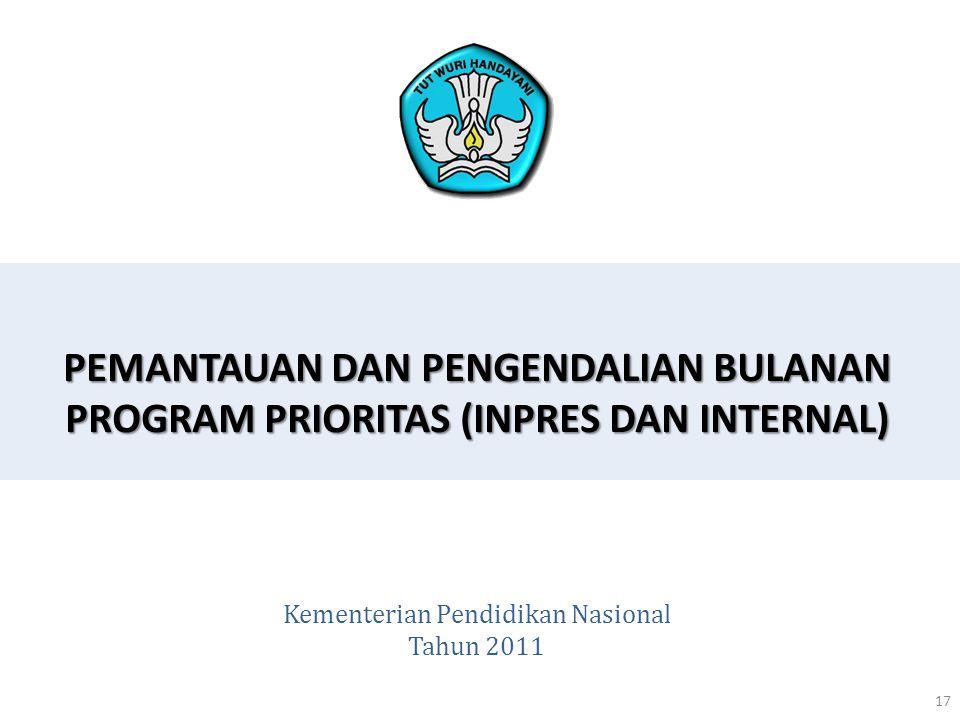 PEMANTAUAN DAN PENGENDALIAN BULANAN PROGRAM PRIORITAS (INPRES DAN INTERNAL) 17 Kementerian Pendidikan Nasional Tahun 2011