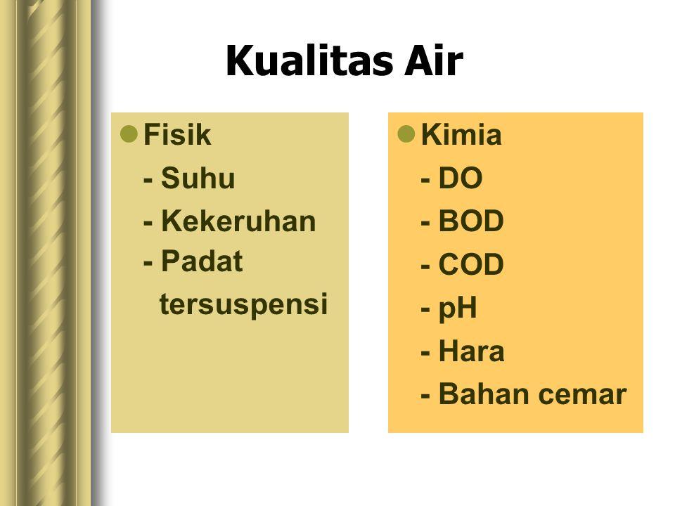 Kualitas Air Fisik - Suhu - Kekeruhan - Padat tersuspensi Kimia - DO - BOD - COD - pH - Hara - Bahan cemar