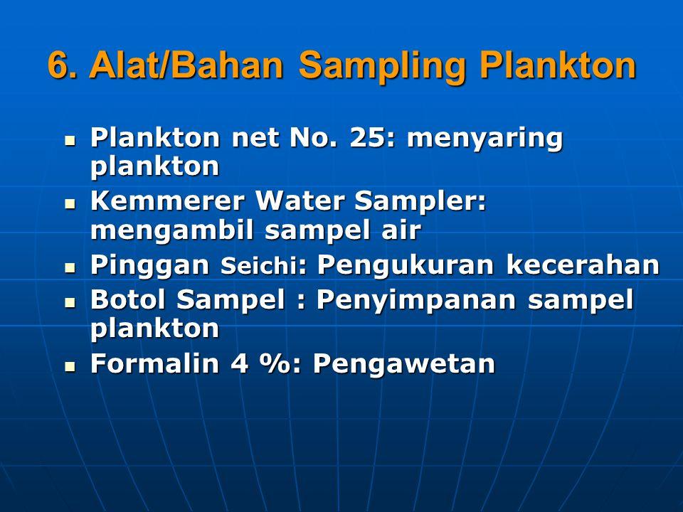 6.Alat/Bahan Sampling Plankton Plankton net No. 25: menyaring plankton Plankton net No.