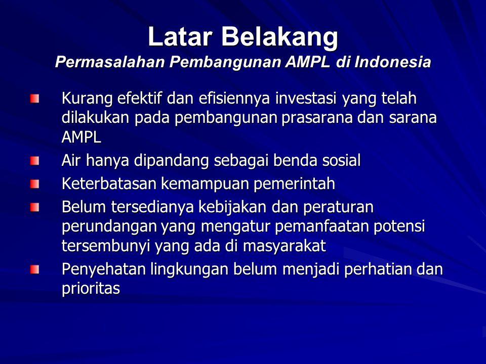 Latar Belakang Permasalahan Pembangunan AMPL di Indonesia Kurang efektif dan efisiennya investasi yang telah dilakukan pada pembangunan prasarana dan