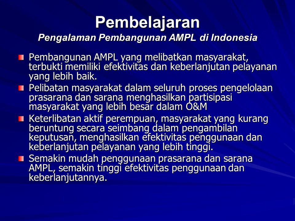 Pembelajaran Pengalaman Pembangunan AMPL di Indonesia Pembangunan AMPL yang melibatkan masyarakat, terbukti memiliki efektivitas dan keberlanjutan pel