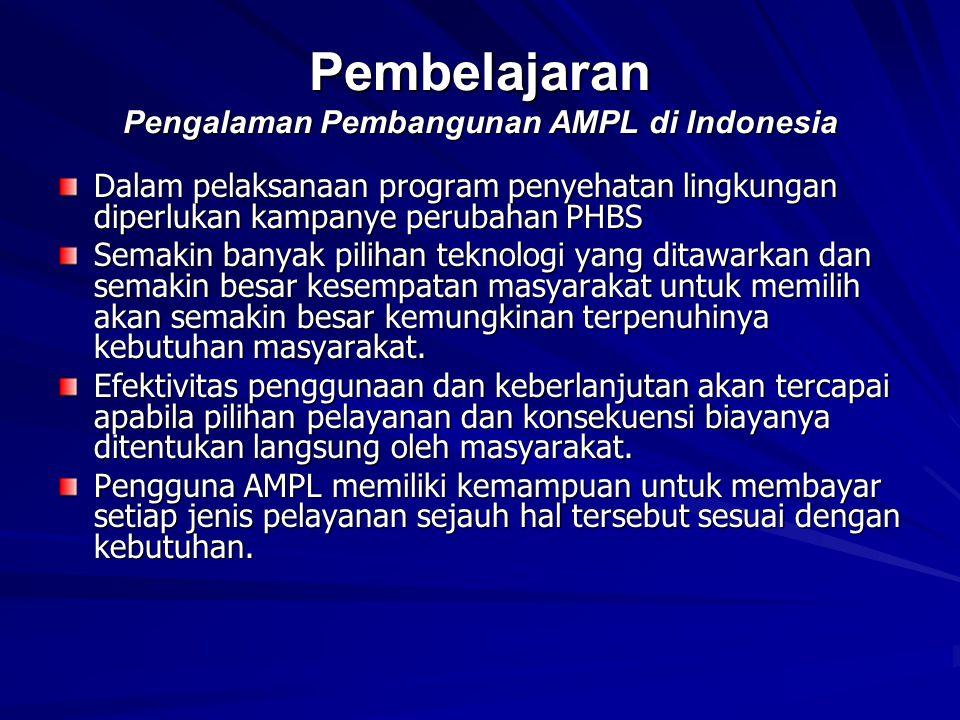 Pembelajaran Pengalaman Pembangunan AMPL di Indonesia Dalam pelaksanaan program penyehatan lingkungan diperlukan kampanye perubahan PHBS Semakin banya