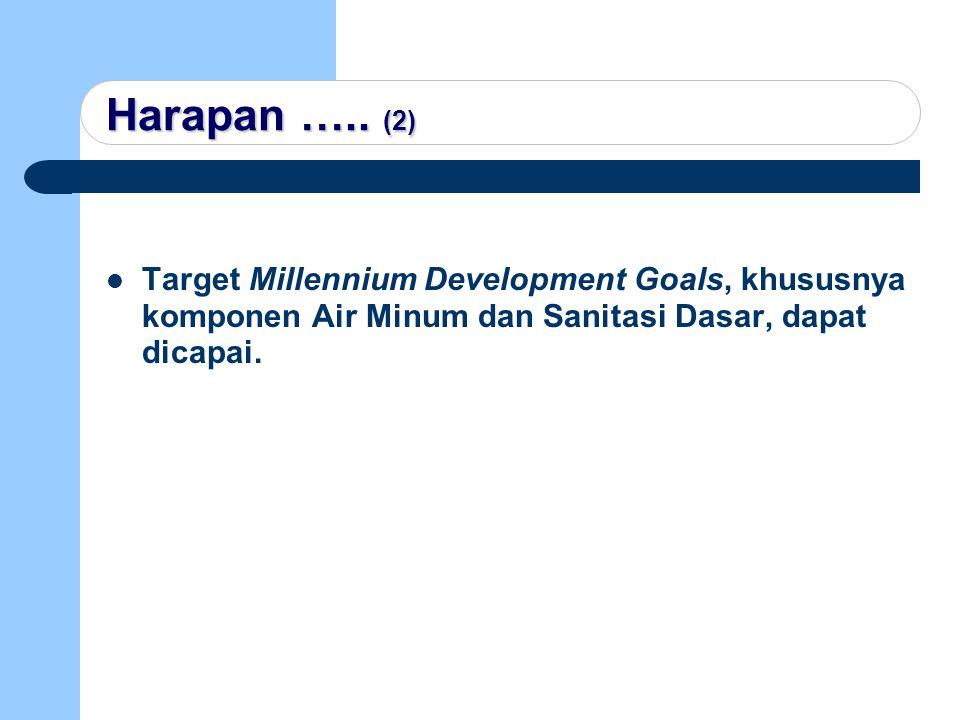 Harapan ….. (2) Target Millennium Development Goals, khususnya komponen Air Minum dan Sanitasi Dasar, dapat dicapai.
