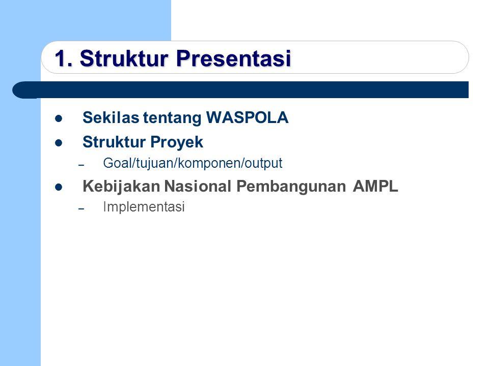 1. Struktur Presentasi Sekilas tentang WASPOLA Struktur Proyek – Goal/tujuan/komponen/output Kebijakan Nasional Pembangunan AMPL – Implementasi