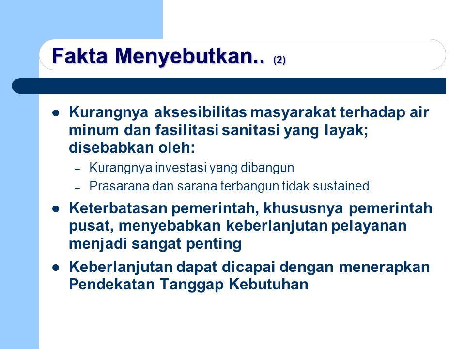 Fakta Menyebutkan.. (2) Kurangnya aksesibilitas masyarakat terhadap air minum dan fasilitasi sanitasi yang layak; disebabkan oleh: – Kurangnya investa