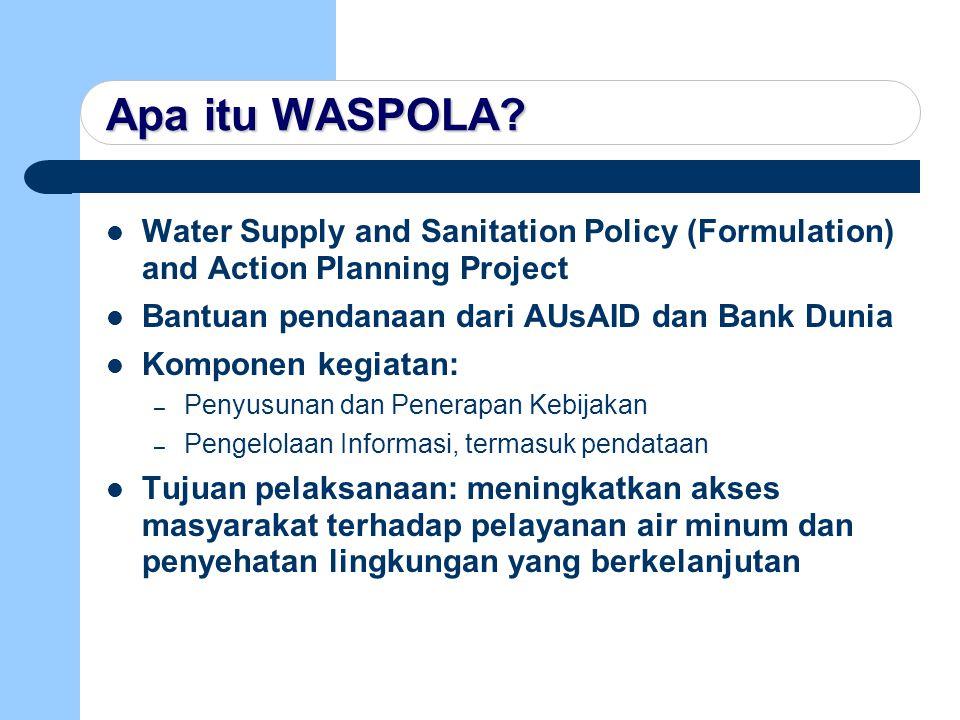 Goal & Purpose Goal Goal Untuk meningkatkan akses penduduk Indonesia, terutama masyarakat miskin, untuk mendapatkan pelayanan air minum dan penyehatan lingkungan (AMPL) yang cukup dan berkelanjutan Purpose Purpose Untuk meningkatkan kapasitas Pemerintah Indonesia dalam pelaksanaan kebijakan dan melanjutkan proses penyempurnaan kebijakan sektor AMPL yang sedang berjalan, yang menekankan pendekatan tanggap kebutuhan dan partisipatif.
