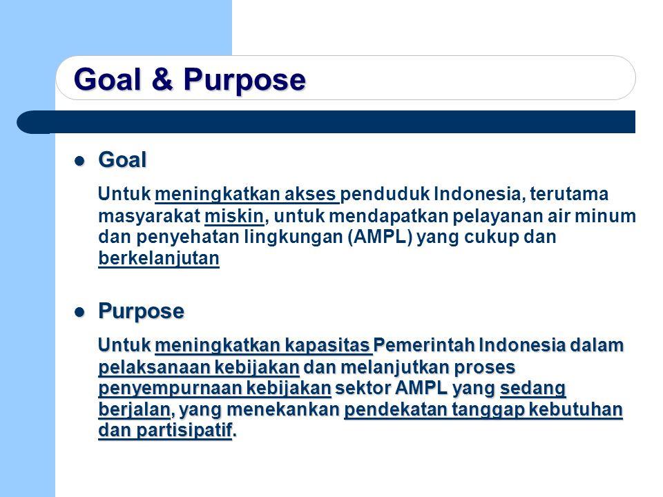 Goal & Purpose Goal Goal Untuk meningkatkan akses penduduk Indonesia, terutama masyarakat miskin, untuk mendapatkan pelayanan air minum dan penyehatan