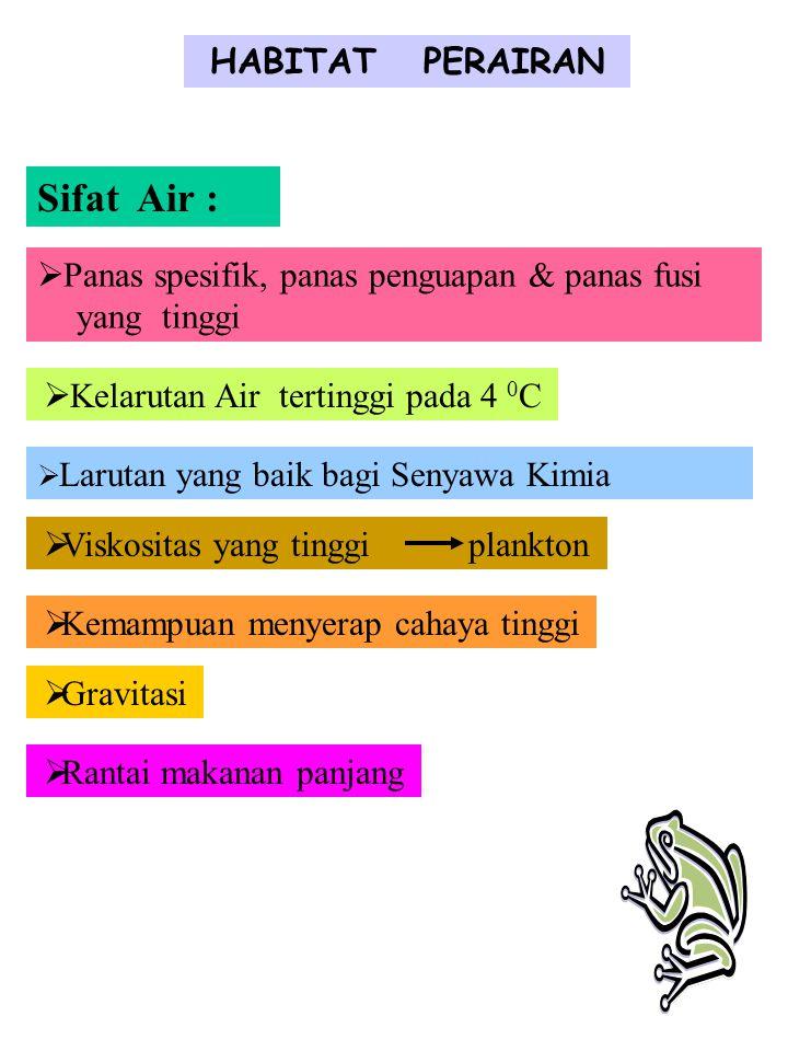 HABITAT PERAIRAN Sifat Air :  Panas spesifik, panas penguapan & panas fusi yang tinggi  Kelarutan Air tertinggi pada 4 0 C  Larutan yang baik bagi Senyawa Kimia  Viskositas yang tinggi plankton  Kemampuan menyerap cahaya tinggi  Gravitasi  Rantai makanan panjang