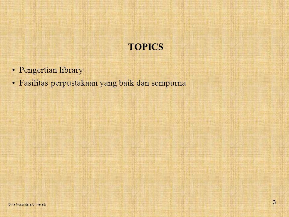 Pengertian library atau perpustakaan adalah: (1)Bangunan atau bagian dari bangunan yang berisi buku-buku yang dapat dipinjam oleh publik (perpustakaan umum) atau dengan anggota dari suatu kelompok yang khusus.