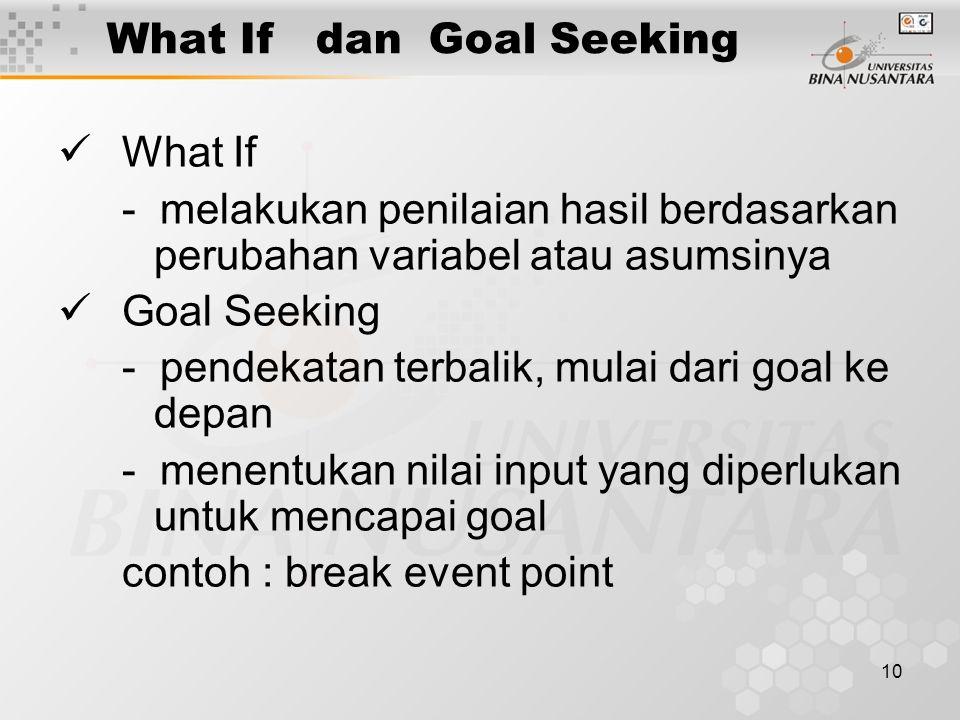 10 What If dan Goal Seeking What If - melakukan penilaian hasil berdasarkan perubahan variabel atau asumsinya Goal Seeking - pendekatan terbalik, mulai dari goal ke depan - menentukan nilai input yang diperlukan untuk mencapai goal contoh : break event point