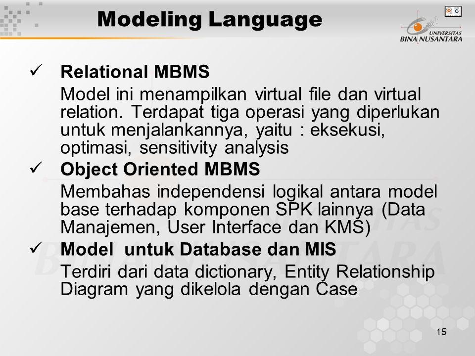 15 Modeling Language Relational MBMS Model ini menampilkan virtual file dan virtual relation.