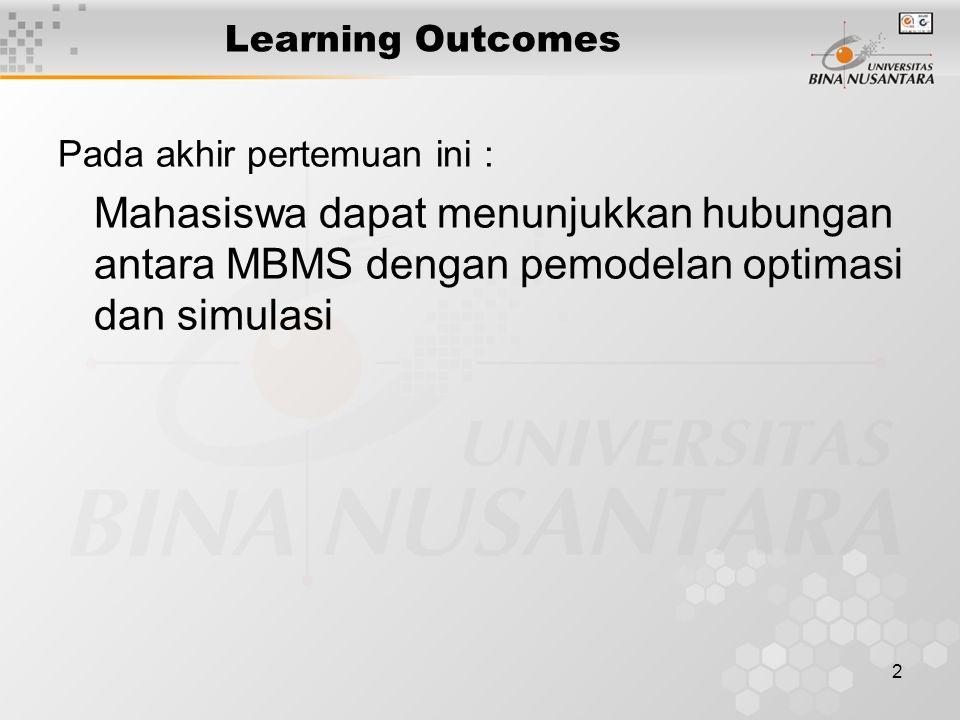 2 Learning Outcomes Pada akhir pertemuan ini : Mahasiswa dapat menunjukkan hubungan antara MBMS dengan pemodelan optimasi dan simulasi