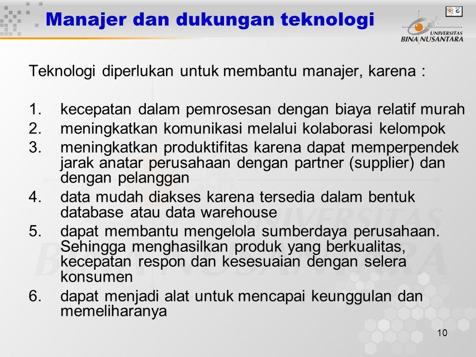 10 Manajer dan dukungan teknologi Teknologi diperlukan untuk membantu manajer, karena : 1.kecepatan dalam pemrosesan dengan biaya relatif murah 2.meni