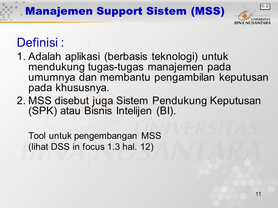 11 Manajemen Support Sistem (MSS) Definisi : 1.Adalah aplikasi (berbasis teknologi) untuk mendukung tugas-tugas manajemen pada umumnya dan membantu pe
