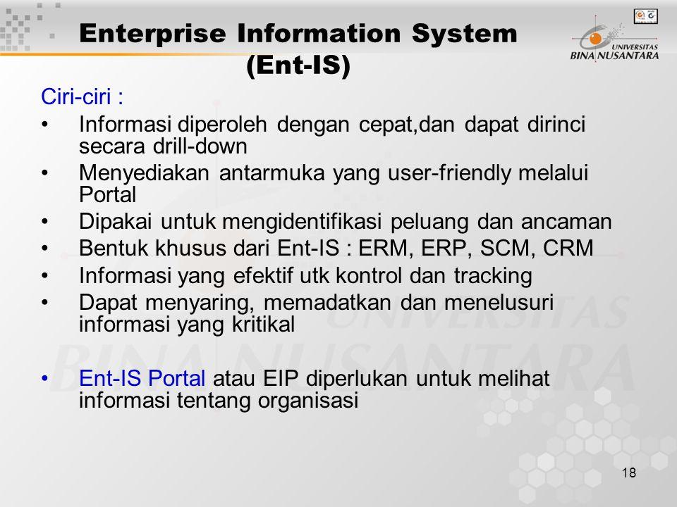 18 Enterprise Information System (Ent-IS) Ciri-ciri : Informasi diperoleh dengan cepat,dan dapat dirinci secara drill-down Menyediakan antarmuka yang