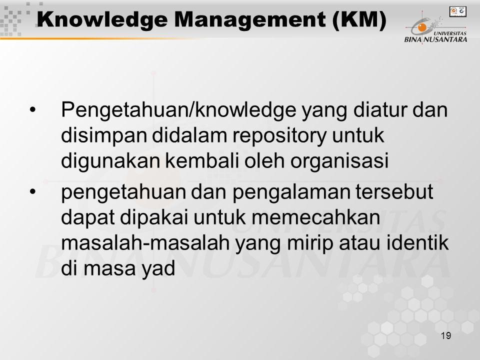 19 Knowledge Management (KM) Pengetahuan/knowledge yang diatur dan disimpan didalam repository untuk digunakan kembali oleh organisasi pengetahuan dan