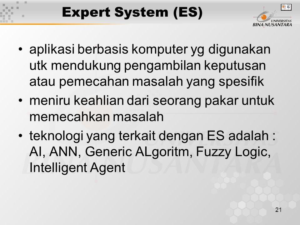 21 Expert System (ES) aplikasi berbasis komputer yg digunakan utk mendukung pengambilan keputusan atau pemecahan masalah yang spesifik meniru keahlian