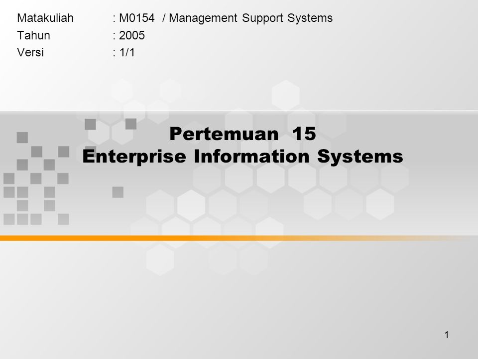 1 Pertemuan 15 Enterprise Information Systems Matakuliah: M0154 / Management Support Systems Tahun: 2005 Versi: 1/1
