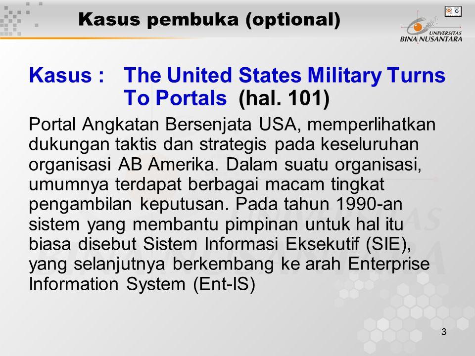 3 Kasus pembuka (optional) Kasus : The United States Military Turns To Portals (hal. 101) Portal Angkatan Bersenjata USA, memperlihatkan dukungan takt