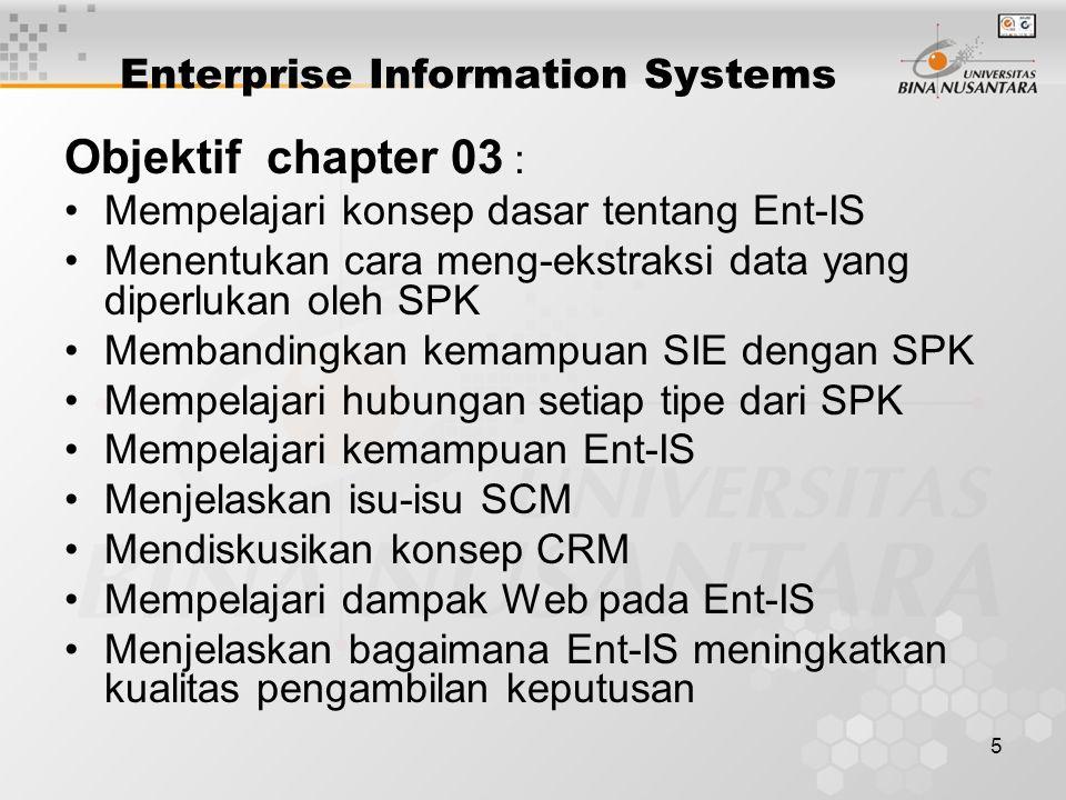 5 Enterprise Information Systems Objektif chapter 03 : Mempelajari konsep dasar tentang Ent-IS Menentukan cara meng-ekstraksi data yang diperlukan oleh SPK Membandingkan kemampuan SIE dengan SPK Mempelajari hubungan setiap tipe dari SPK Mempelajari kemampuan Ent-IS Menjelaskan isu-isu SCM Mendiskusikan konsep CRM Mempelajari dampak Web pada Ent-IS Menjelaskan bagaimana Ent-IS meningkatkan kualitas pengambilan keputusan
